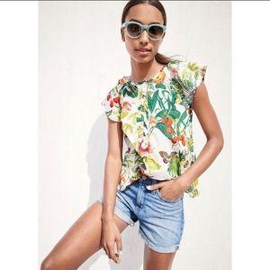 J. Crew Black label tropical print popover blouse